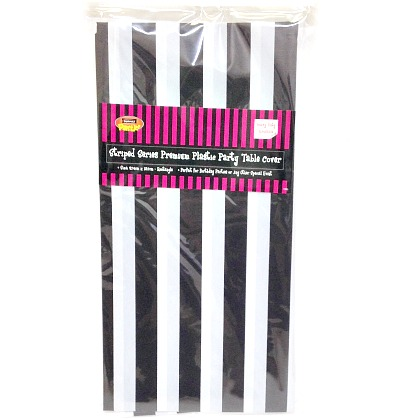 Tablecloth Black White Striped Geelong Party Supplies
