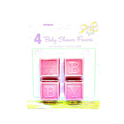 Baby Shower Baby Blocks Pink
