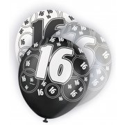 Glitz Balloon 16th Black,Silver,White