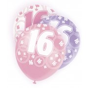 Glitz Balloon 16th Pink,Purple,White