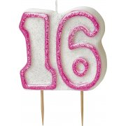 Glitz#16 Candle Pink & White