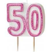 Glitz #50 Candle Pink & WhiteGlitz #50 Candle Pink & White