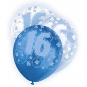 Glitz Balloon 16th Blue,Silver,White
