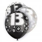 Glitz Balloon 13th Black,Silver,White