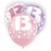 Glitz Balloon 13th Pink-Purple-White