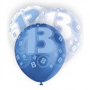 Glitz Balloon 13th Blue,White