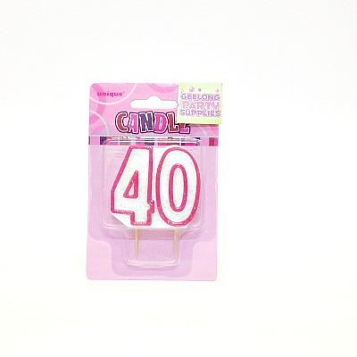 Candle Pink & White #40 Glitz