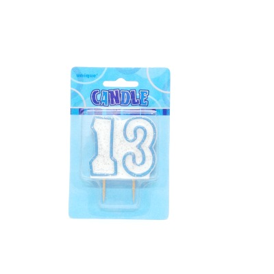 Candle Blue & White #13 Glitz