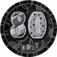 Badge Glitz Black 80th