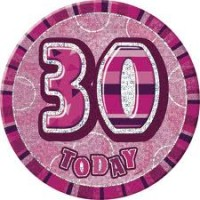 Badge Glitz Pink 30th