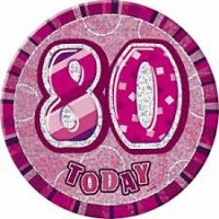 Badge Glitz Pink 80th