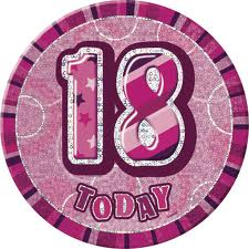Badge Glitz Pink 18th