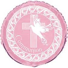 Foil Balloon Communion Pink