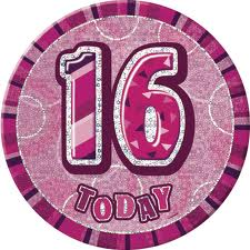 Badge Glitz Pink 16th