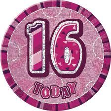 Badge Glitz Pink 16th