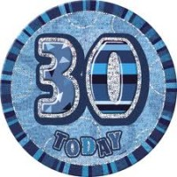 Badge Glitz Blue 30th