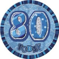 Badge Glitz Blue 80th