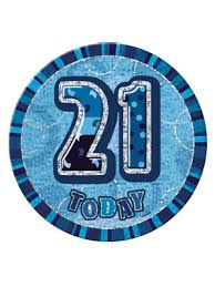 Badge Glitz Blue 21st