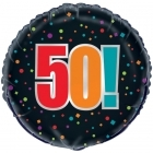 Happy Birthday Foil Black 50th