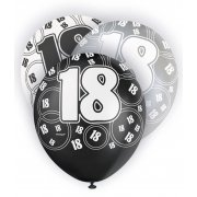 Glitz Balloons 18th Black,Silver, White