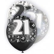 Glitz Balloons 21st Black,Silver, White