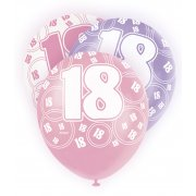 Glitz Balloons 18th Pink,Purple,White
