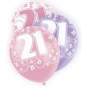Glitz Balloons 21st Pink,Purple, White