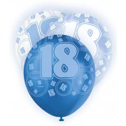 Glitz Balloons 18th Blue & White