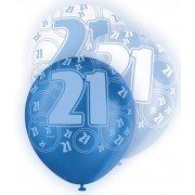 Glitz Balloons 21st Blue, White